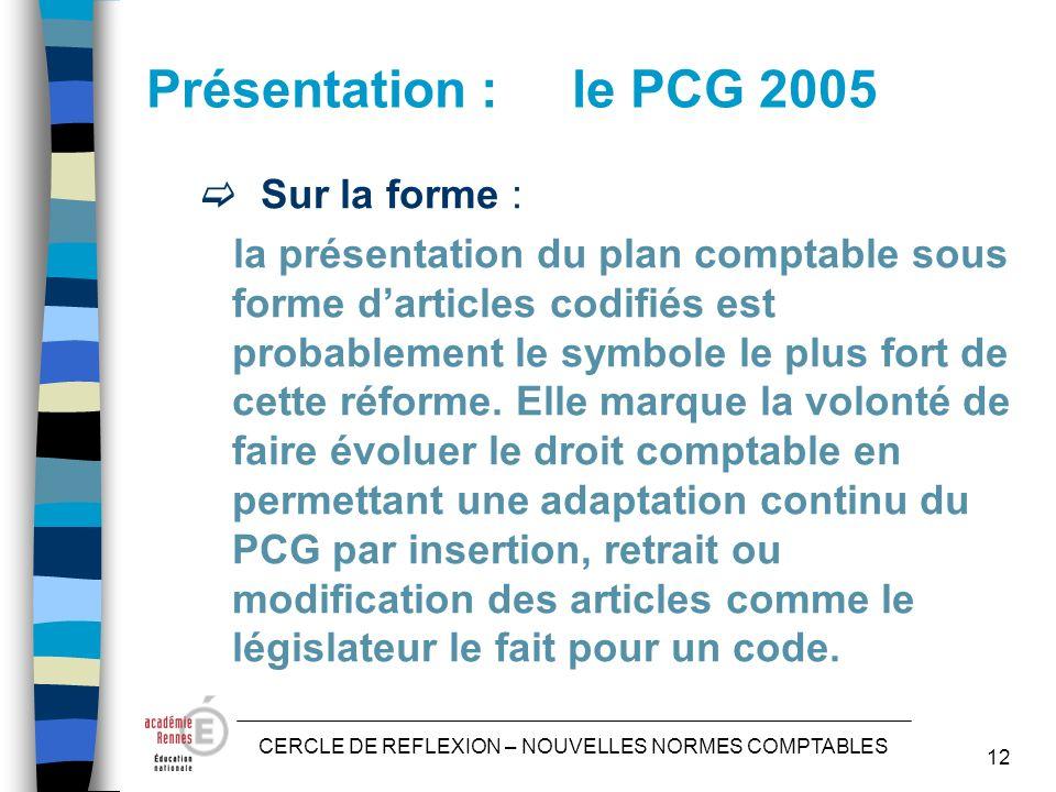 CERCLE DE REFLEXION – NOUVELLES NORMES COMPTABLES