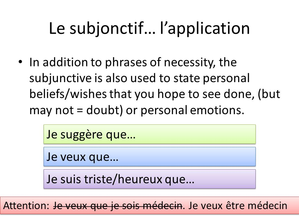 Le subjonctif… l'application