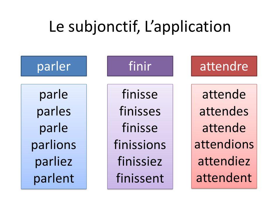Le subjonctif, L'application