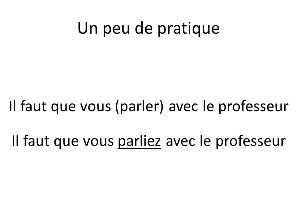Un peu de pratique Il faut que vous (parler) avec le professeur