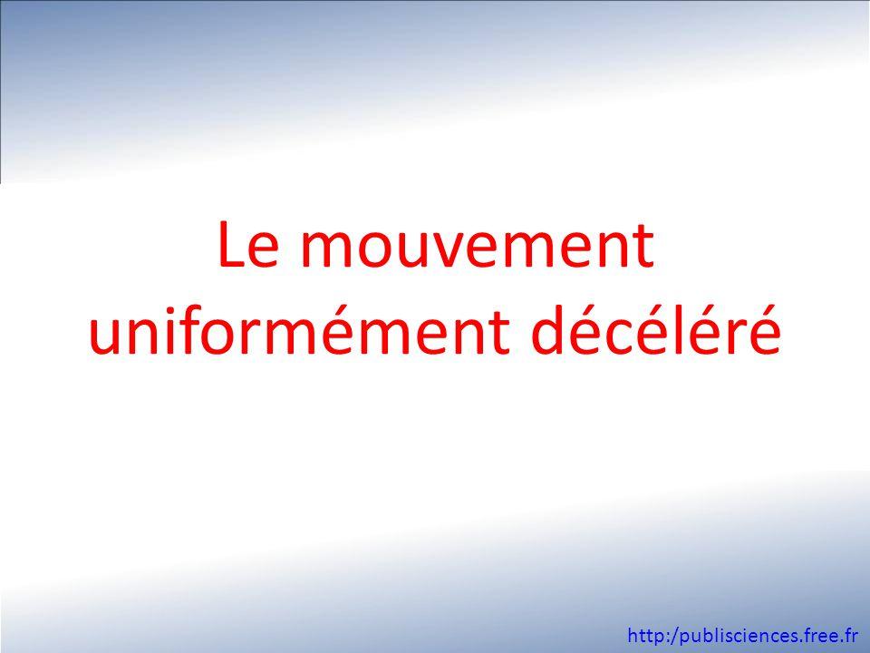 Le mouvement uniformément décéléré