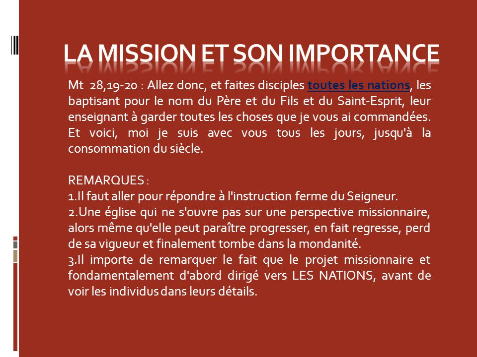 La MISSION ET SON IMPORTANCE