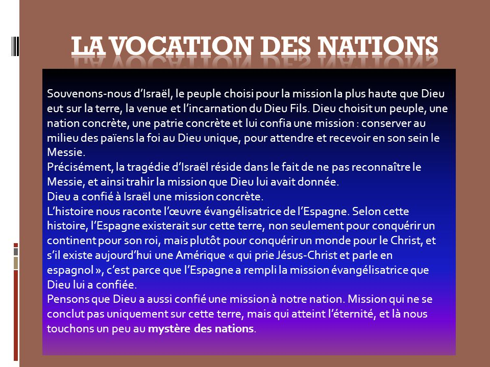 LA VOCATION DES NATIONS