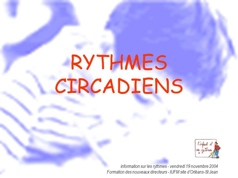 RYTHMES CIRCADIENS information sur les rythmes - vendredi 19 novembre 2004.
