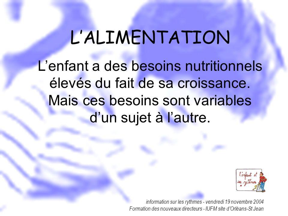 L'ALIMENTATIONL'enfant a des besoins nutritionnels élevés du fait de sa croissance. Mais ces besoins sont variables d'un sujet à l'autre.
