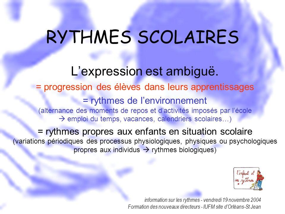 RYTHMES SCOLAIRES L'expression est ambiguë.