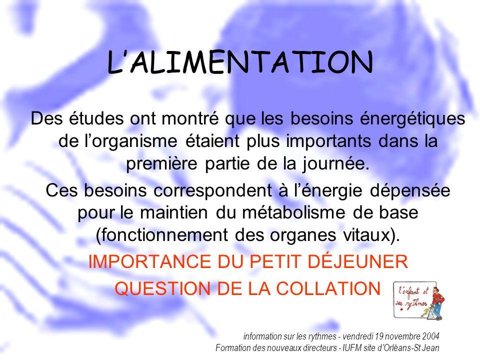 L'ALIMENTATION Des études ont montré que les besoins énergétiques de l'organisme étaient plus importants dans la première partie de la journée.