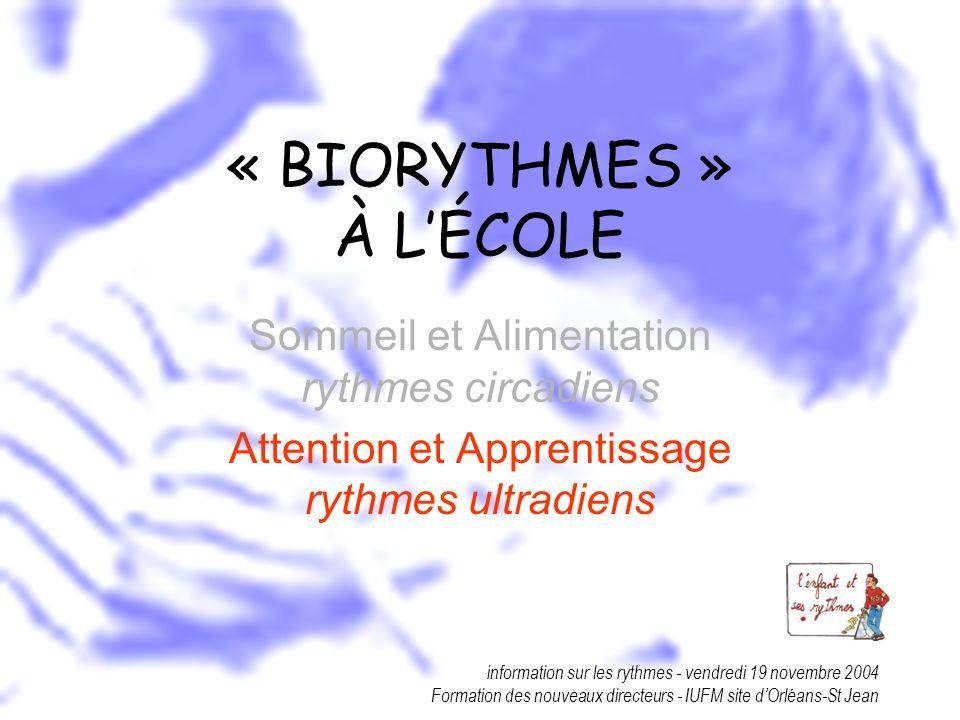 « BIORYTHMES » À L'ÉCOLE