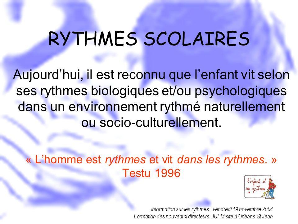 « L'homme est rythmes et vit dans les rythmes. » Testu 1996