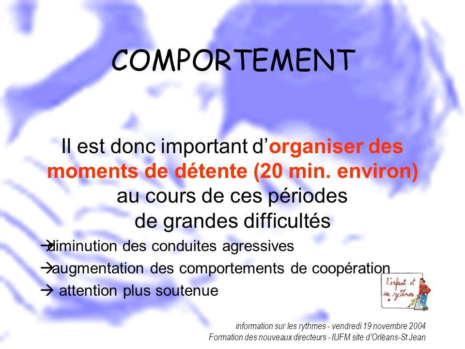 COMPORTEMENT Il est donc important d'organiser des moments de détente (20 min. environ) au cours de ces périodes de grandes difficultés.