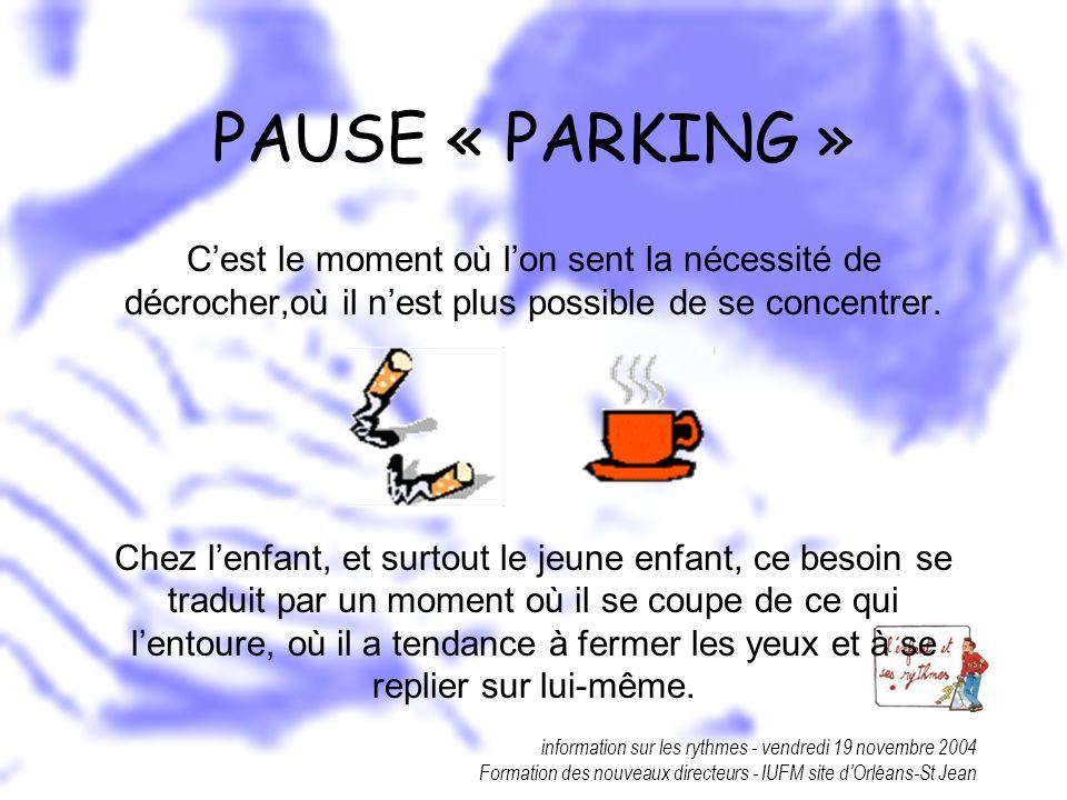 PAUSE « PARKING » C'est le moment où l'on sent la nécessité de décrocher,où il n'est plus possible de se concentrer.