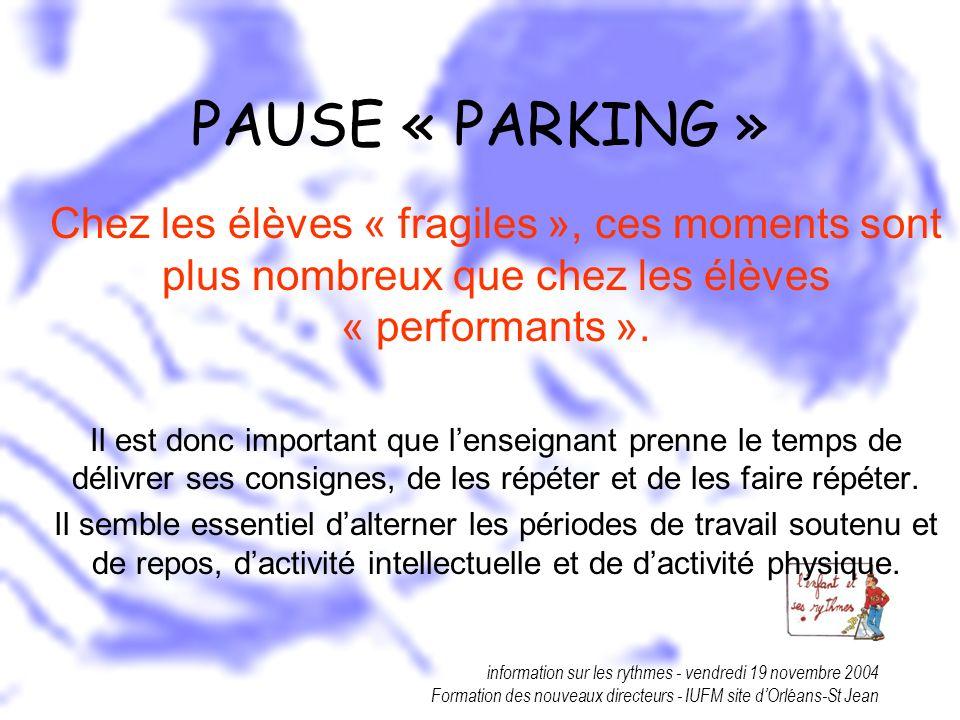 PAUSE « PARKING » Chez les élèves « fragiles », ces moments sont plus nombreux que chez les élèves « performants ».