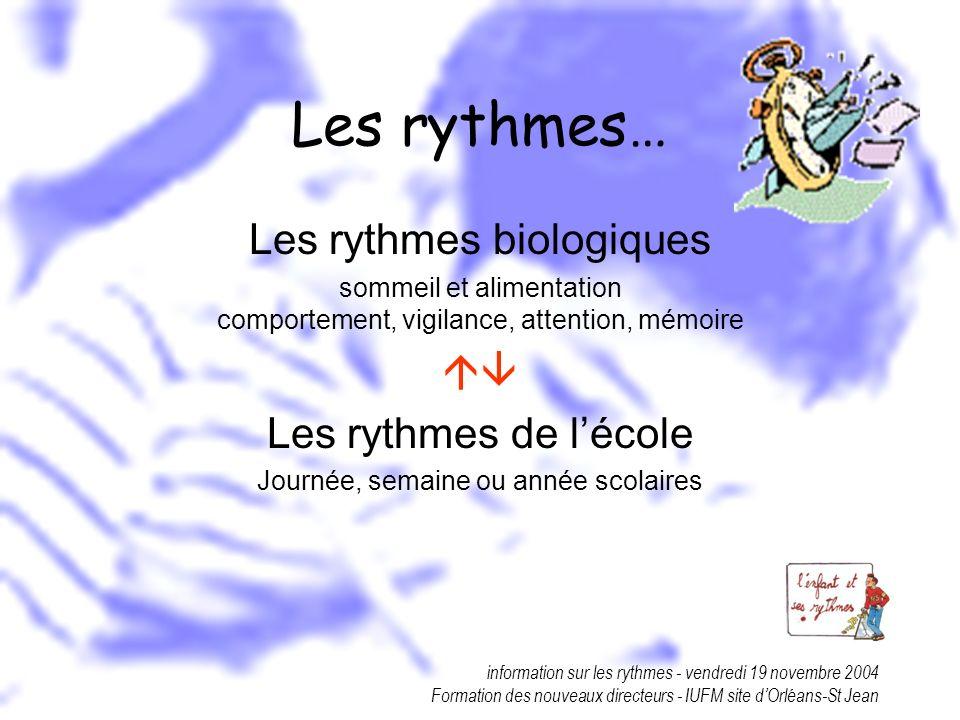Les rythmes… Les rythmes biologiques  Les rythmes de l'école