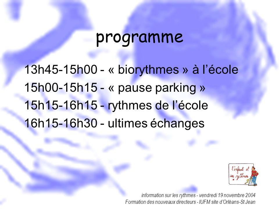 programme 13h45-15h00 - « biorythmes » à l'école