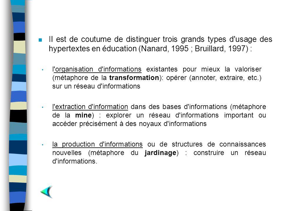 Il est de coutume de distinguer trois grands types d usage des hypertextes en éducation (Nanard, 1995 ; Bruillard, 1997) :