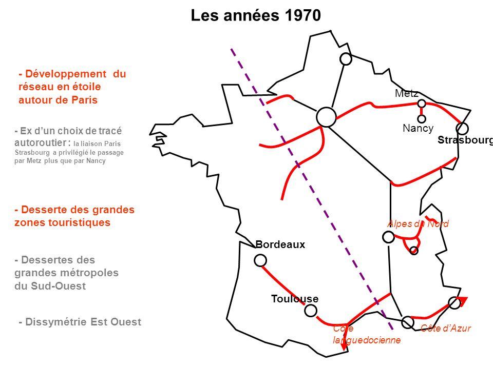 Les années 1970 - Développement du réseau en étoile autour de Paris