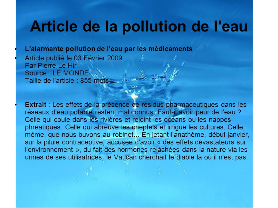 Article de la pollution de l eau