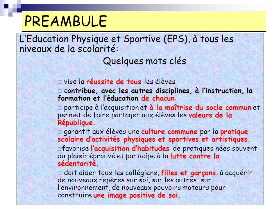 PREAMBULE L'Education Physique et Sportive (EPS), à tous les niveaux de la scolarité: Quelques mots clés.