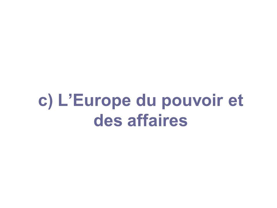 c) L'Europe du pouvoir et des affaires