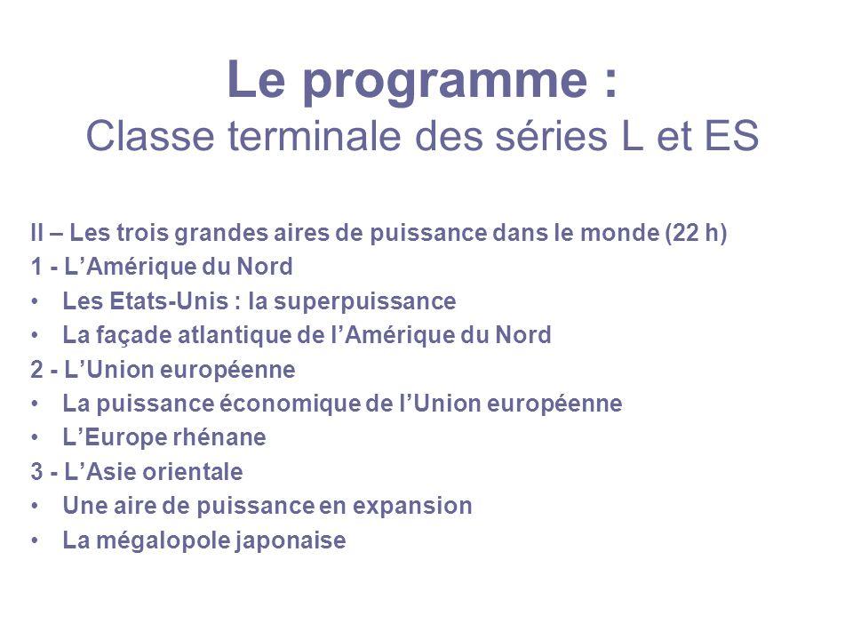 Le programme : Classe terminale des séries L et ES