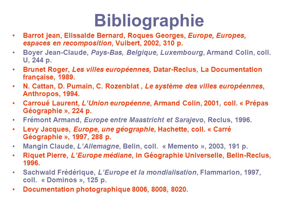 Bibliographie Barrot jean, Elissalde Bernard, Roques Georges, Europe, Europes, espaces en recomposition, Vuibert, 2002, 310 p.