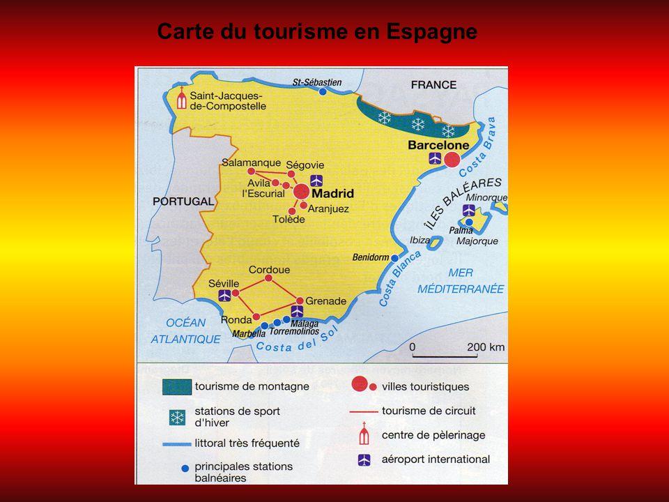 Carte du tourisme en Espagne