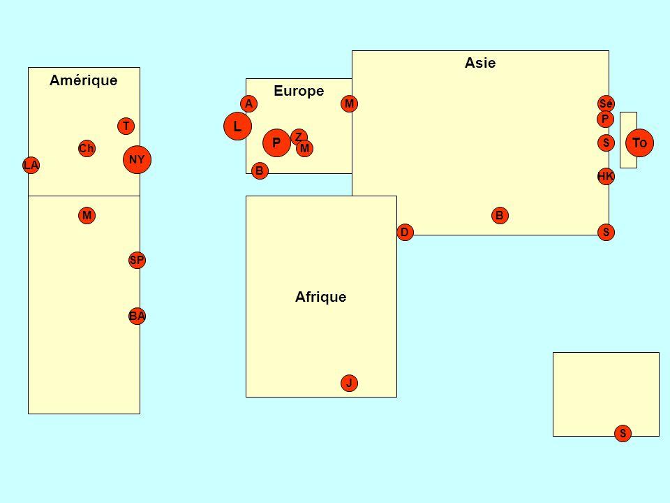 Asie Amérique Europe L Afrique