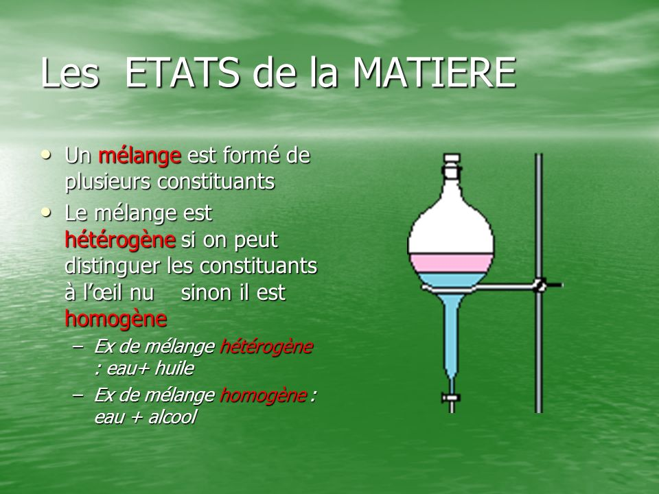 Les ETATS de la MATIERE Un mélange est formé de plusieurs constituants
