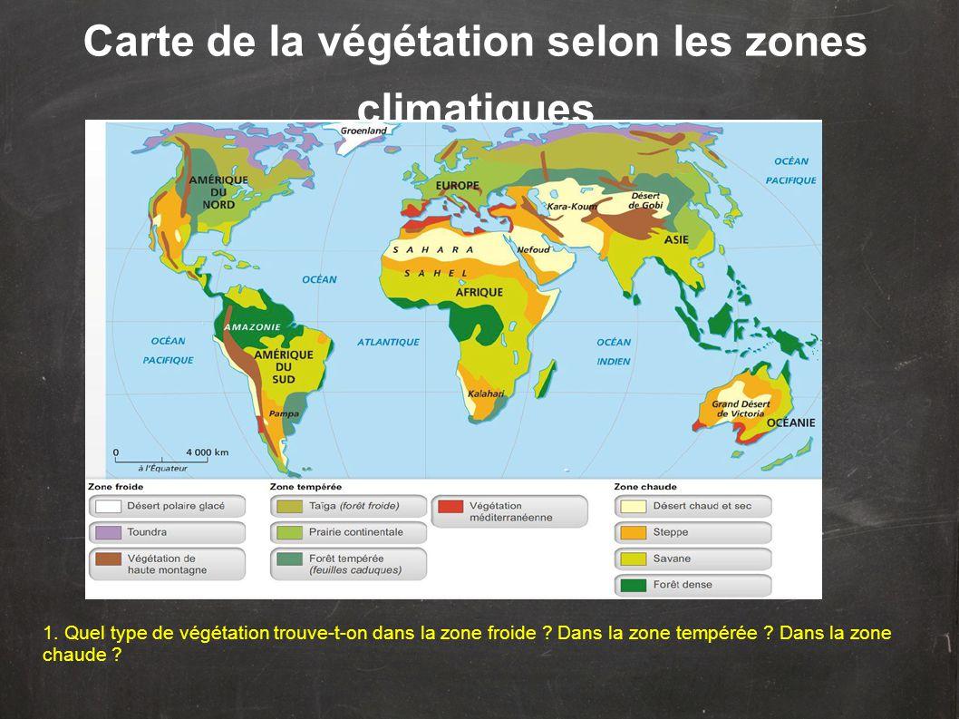 Carte de la végétation selon les zones climatiques