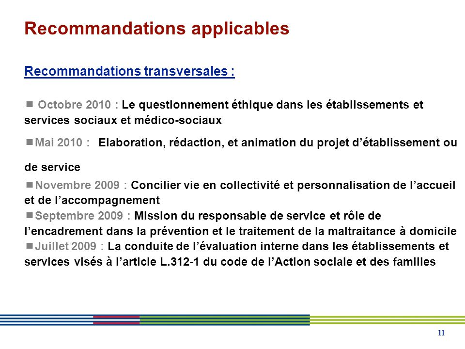 Recommandations applicables