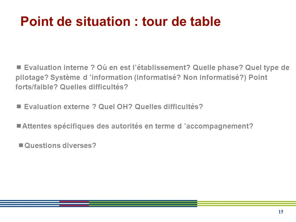 Point de situation : tour de table