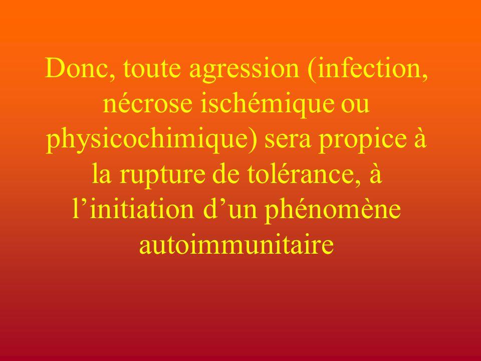 Donc, toute agression (infection, nécrose ischémique ou physicochimique) sera propice à la rupture de tolérance, à l'initiation d'un phénomène autoimmunitaire