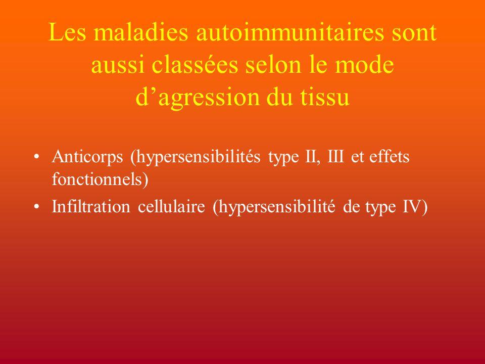Les maladies autoimmunitaires sont aussi classées selon le mode d'agression du tissu