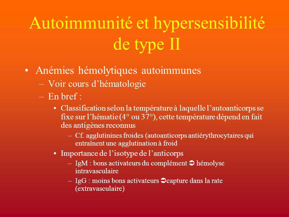 Autoimmunité et hypersensibilité de type II