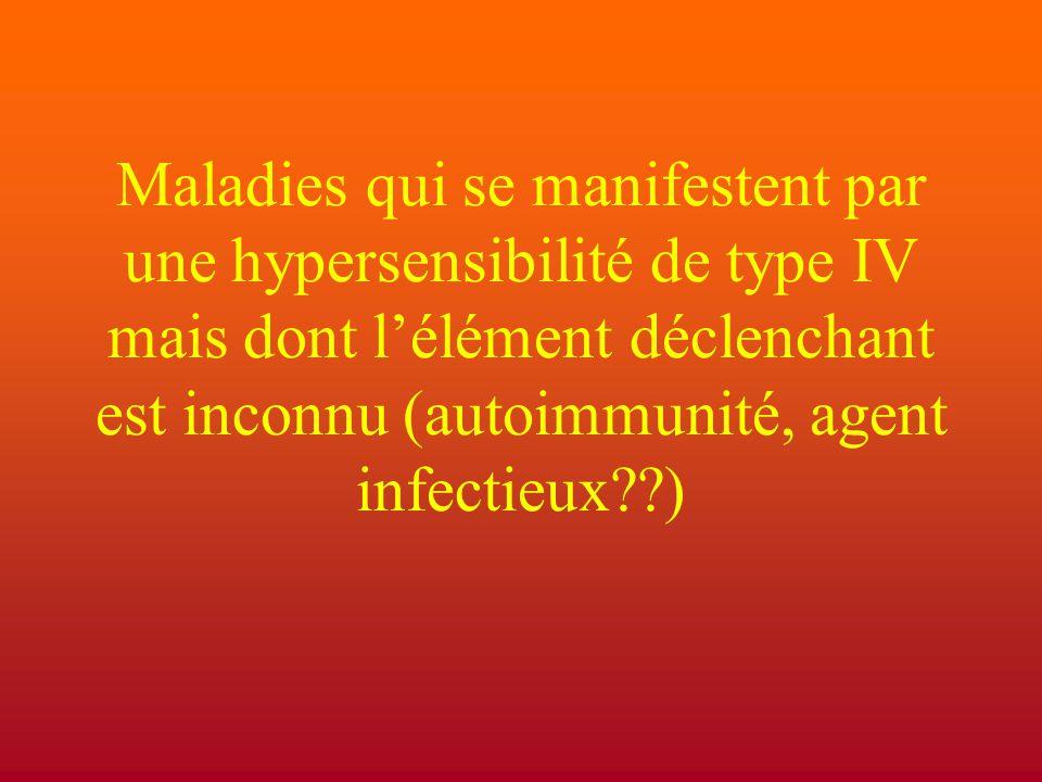 Maladies qui se manifestent par une hypersensibilité de type IV mais dont l'élément déclenchant est inconnu (autoimmunité, agent infectieux )