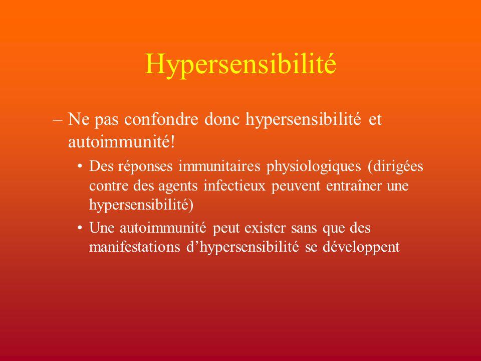Hypersensibilité Ne pas confondre donc hypersensibilité et autoimmunité!