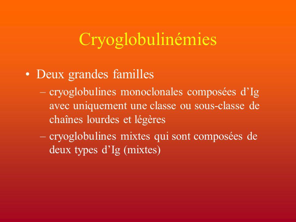 Cryoglobulinémies Deux grandes familles