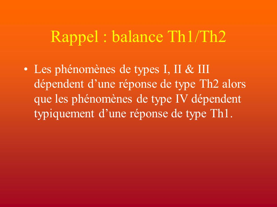 Rappel : balance Th1/Th2