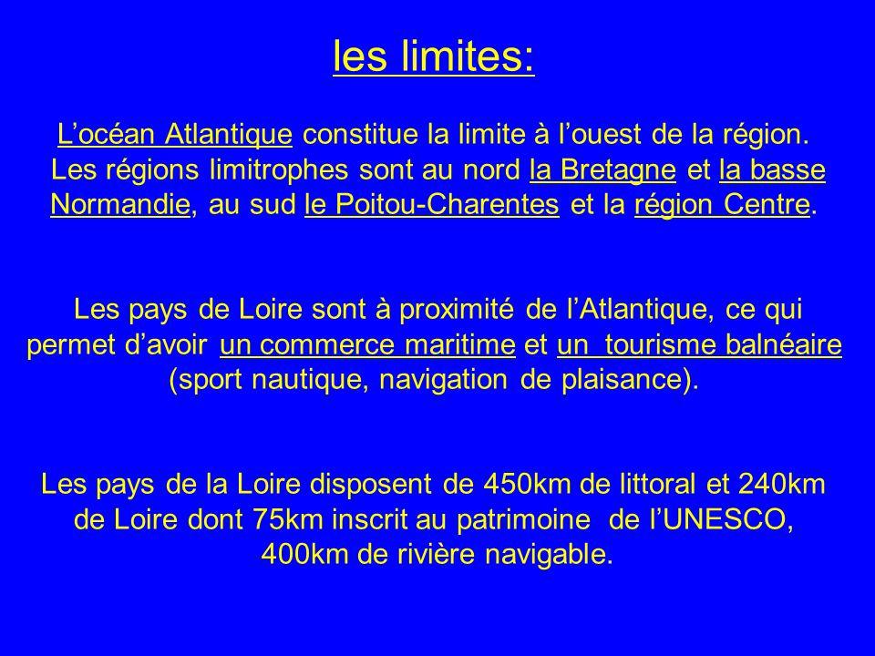 les limites: L'océan Atlantique constitue la limite à l'ouest de la région.