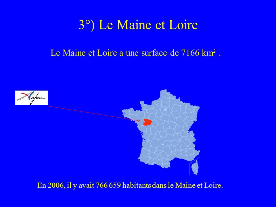 Le Maine et Loire a une surface de 7166 km² .