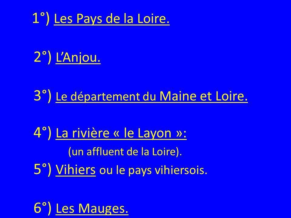1°) Les Pays de la Loire. 2°) L'Anjou
