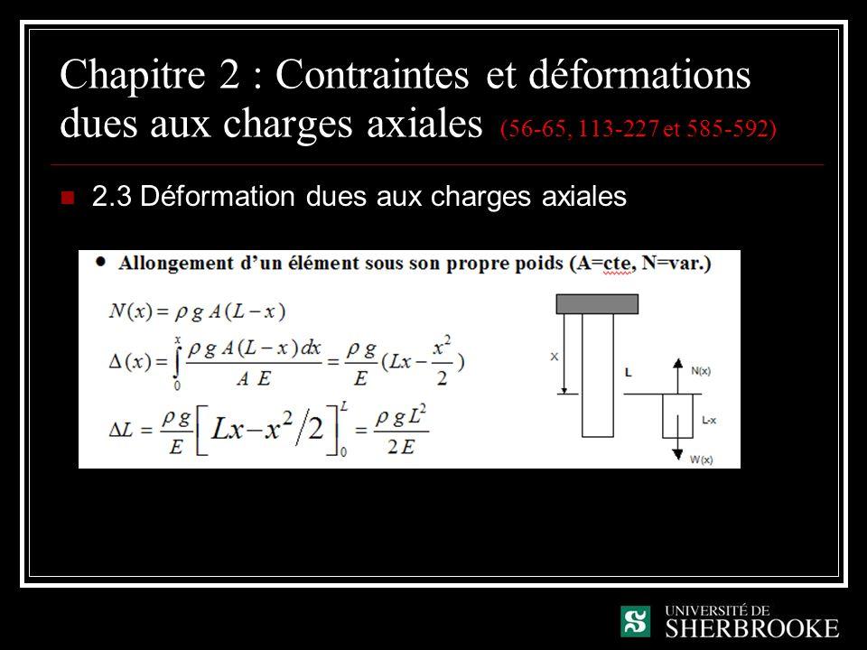 Chapitre 2 : Contraintes et déformations dues aux charges axiales (56-65, 113-227 et 585-592)