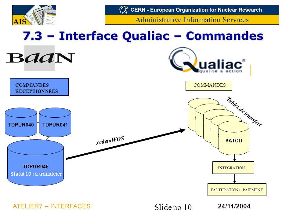 7.3 – Interface Qualiac – Commandes