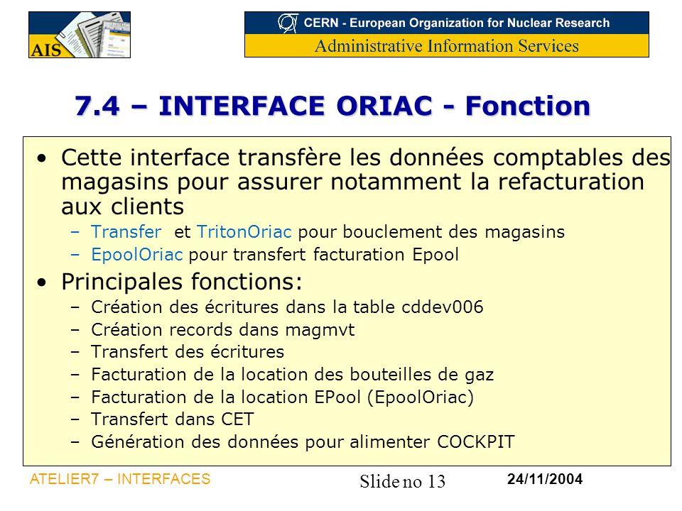 7.4 – INTERFACE ORIAC - Fonction