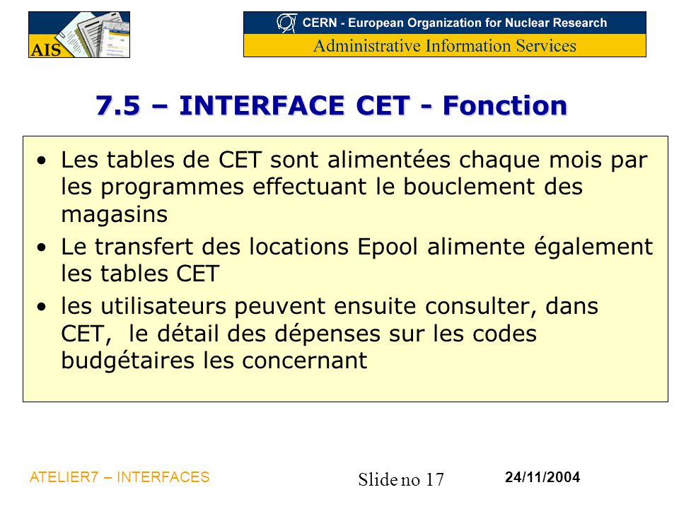 7.5 – INTERFACE CET - Fonction