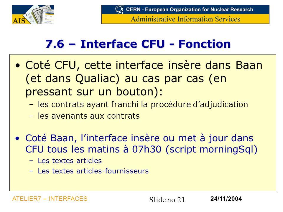 7.6 – Interface CFU - Fonction