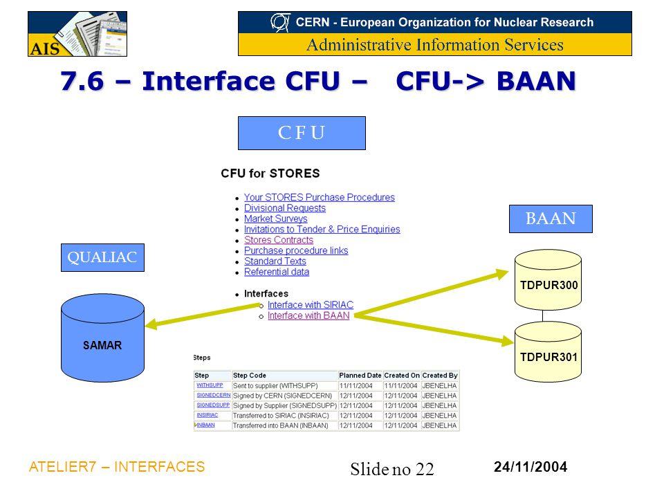 7.6 – Interface CFU – CFU-> BAAN