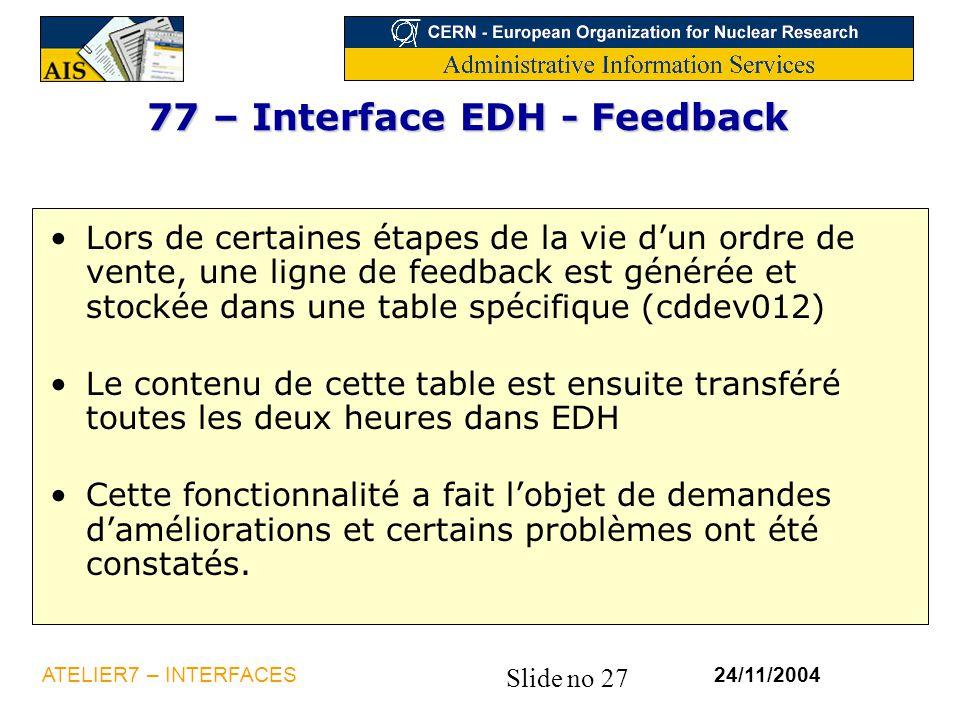 77 – Interface EDH - Feedback