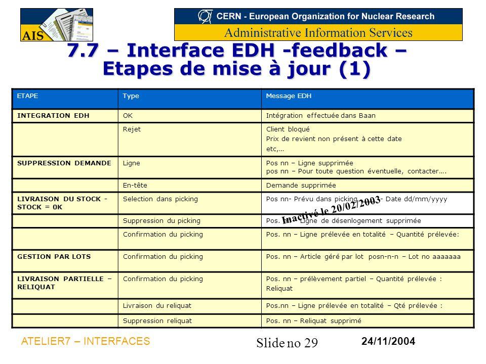 7.7 – Interface EDH -feedback – Etapes de mise à jour (1)