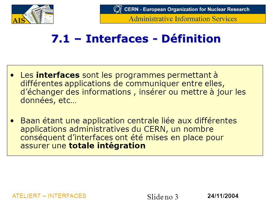 7.1 – Interfaces - Définition